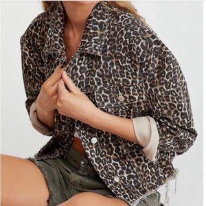 Free People Cheetah Print Cropped Denim Jacket XS
